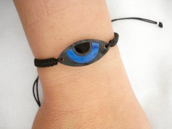 04e3043fce701c 11 Blue black evil eye bracelet Acrylic evil eye bracelet   Etsy