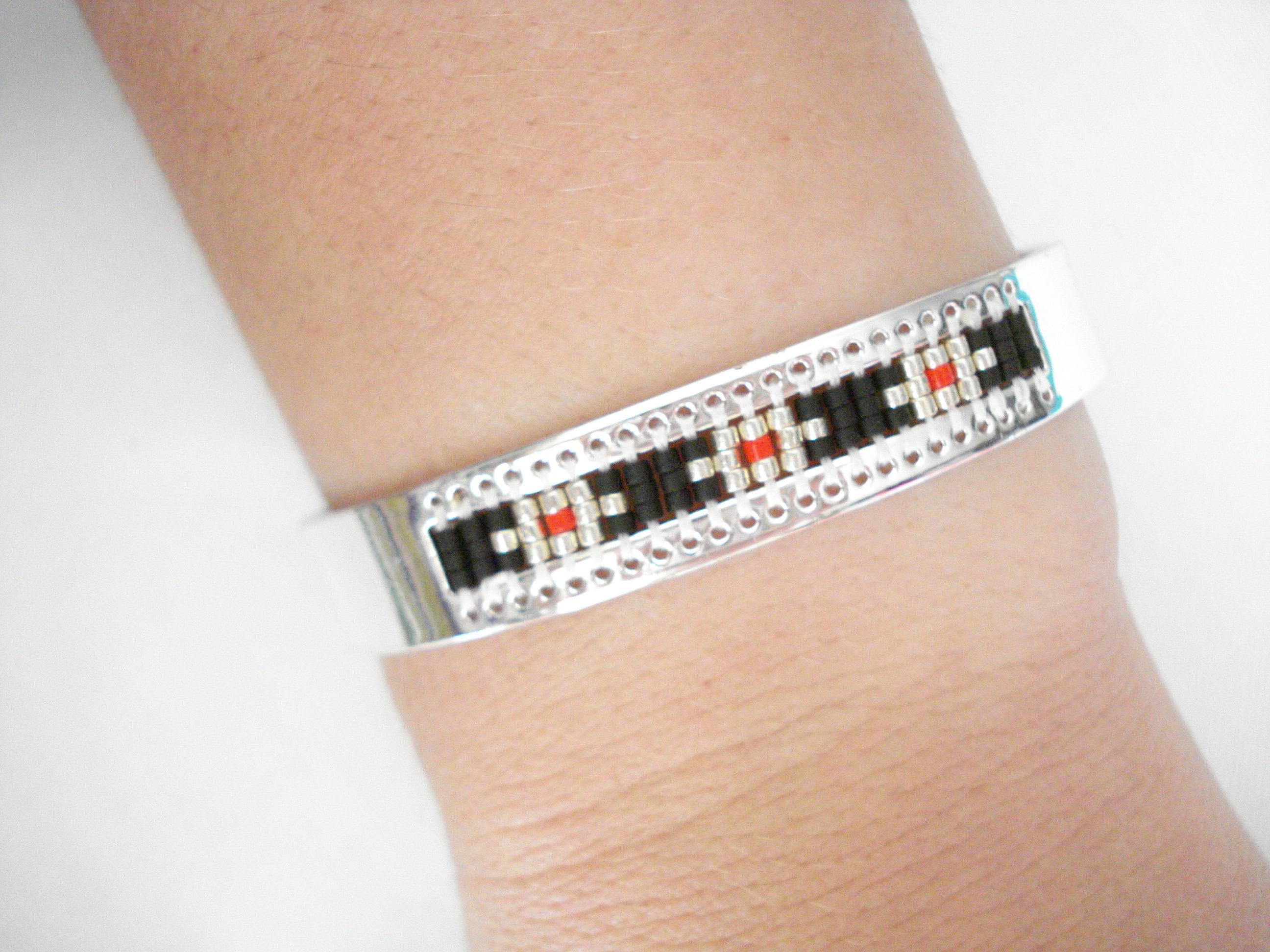 752e037f946aad Evil eye bracelet Silver cuff Geometric bangle Bead weaving   Etsy