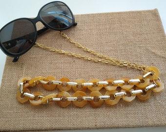 Yellow tartarooga chunky sunglasses chain