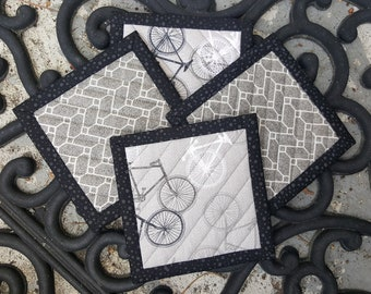 Quilted Coaster Set - French Themed in Gray and Black