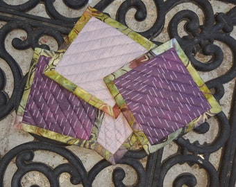 Quilted Coaster Set - Purples and Green - Graphic Print