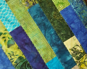 Striped Table Runner in Green and Blue Batiks