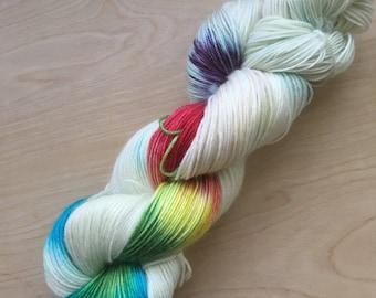 Rainbow spectrum superwash merino sock yarn