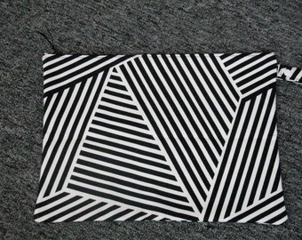 11 x 15 Black / White  Stripe Wet Bag / With PUL Lining Made & Ready To Ship