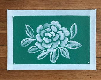 """Floorcloth Rug 11"""" x 16"""" Painted Canvas Bright Green White Peony Pet Mat Placemat"""