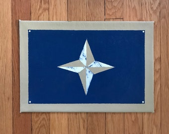 """Floorcloth Rug 11"""" x 16"""" Painted Canvas Pet Mat Dark Navy Blue Gold and White Small Compass"""