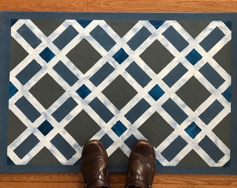 """Floorcloth Rug 22"""" x 32"""" Painted Canvas Gray White and Blue Diamond Pattern"""