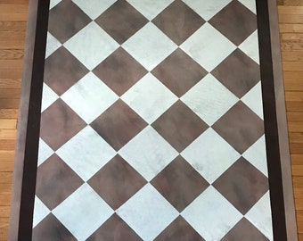 """Painted Canvas 81"""" x 53"""" Brown and Cream Faux Texture Diamond Floor Cloth"""