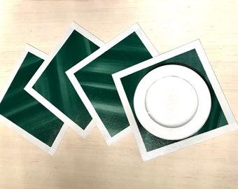 "14"" x 14"" Set of Four Dark Green Light Gray Border Hand Painted Canvas Place Mats"