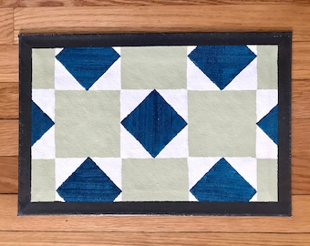"""Floorcloth Rug 11"""" x 16"""" Painted Canvas Bright Green and Teal Blue Diamond Checker Centerpiece Tablescaping Pet Mat"""