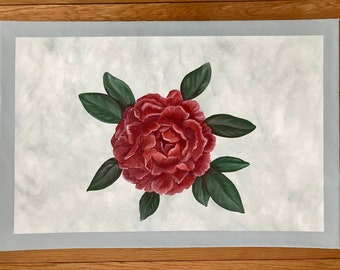 """Floorcloth Rug 22"""" x 32"""" Painted Canvas Red Peony Gray Texture"""