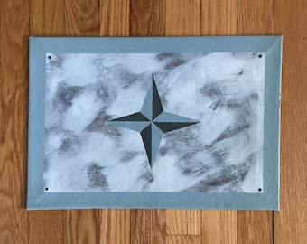 """Floorcloth Rug 11"""" x 16"""" Painted Canvas Pet Mat Gray Blue and White Small Compass"""