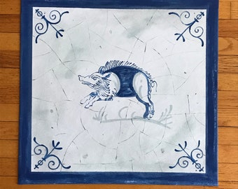"""Sample Custom Order Canvas Floorcloth Rug 24.5"""" x 23.5"""" Delft Pig Year of the Pig Antiqued Blue and White"""