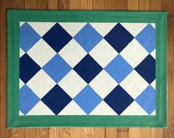 """Floorcloth Rug 22"""" x 32"""" Painted Canvas Blue and White Diamond Pattern"""