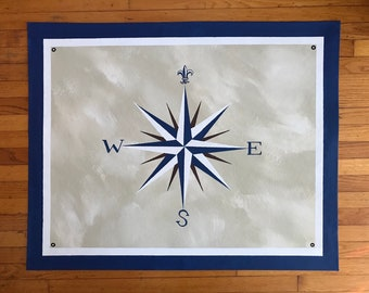 "Sample Custom Order Floorcloth Rug 32"" x 42"" Painted Canvas Compass Rose Dark Blue Cream"