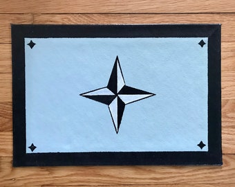 """Floorcloth Rug 11"""" x 16"""" Painted Canvas Pet Mat Light Blue and Black Small Compass"""