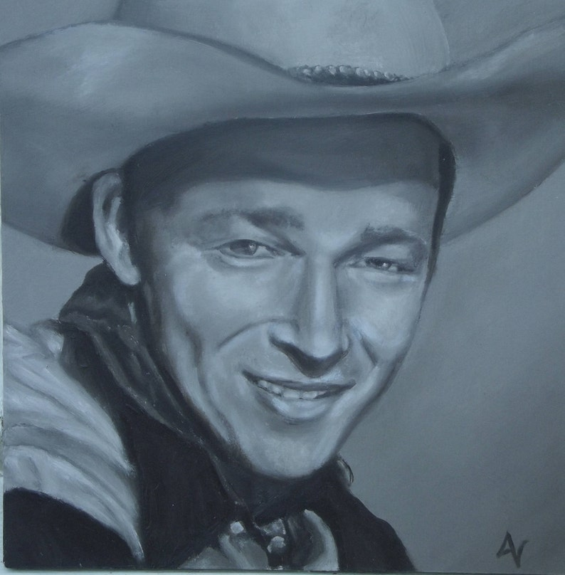 Roy Rogers Original Oil Painting Portrait on 8x8 Wood image 0