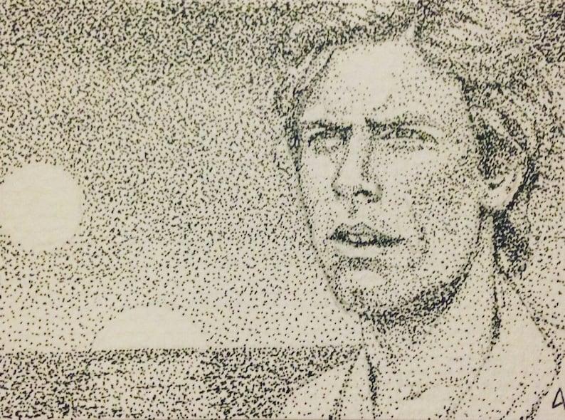 Luke Skywalker on Tattooine  ACEO Miniature Pointillism Pen image 0