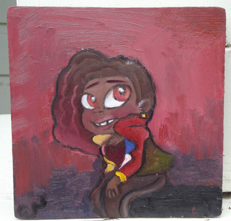 Ruby by Emily VanGaasbeck Original Oil Painting on 8x8 image 0