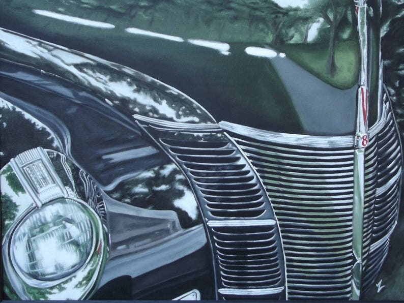 Ford Deluxe Classic Car Print of Original Oil Painting image 0