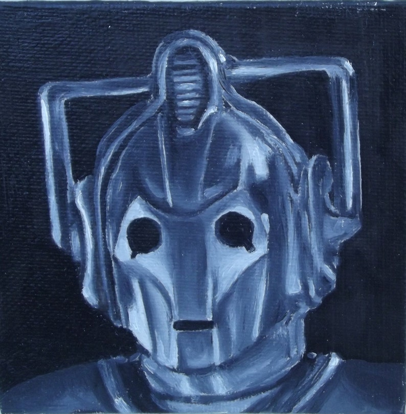 Cyberman Doctor Who  Miniature Oil Painting Portrait image 0