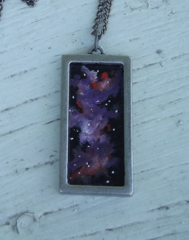 Wearable Art Handpainted Oil Painting Space Nebula Brushed image 0