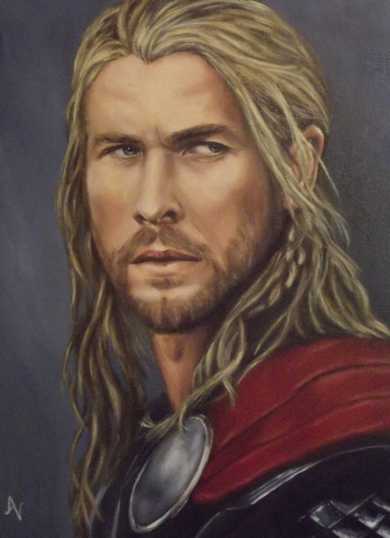 Thor Chris Hemsworth Avengers Print of Oil Painting Portrait image 0