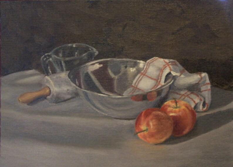 Silver  Mixing Bowl Print of Original Oil Painting Still Life image 0