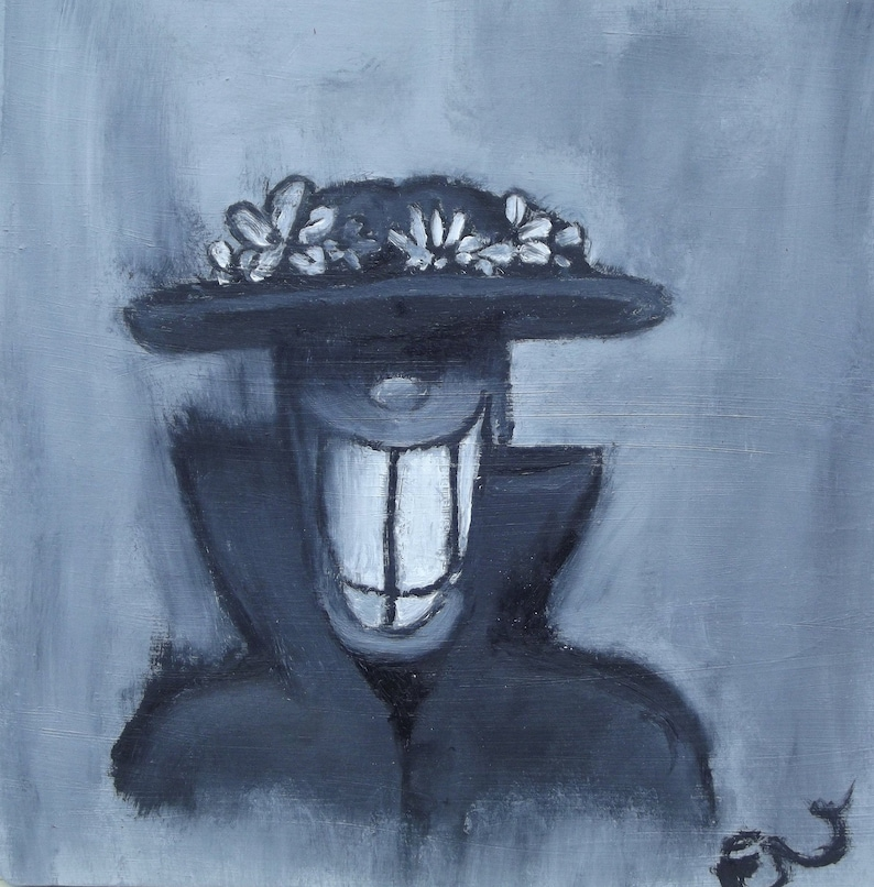 Smile by Emily VanGaasbeck Original Oil Painting on 8x8 image 0