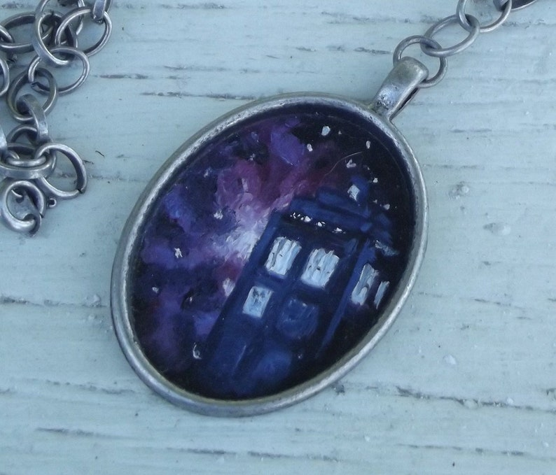 Wearable Art Handpainted Oil Painting Space Nebula Doctor Who image 0