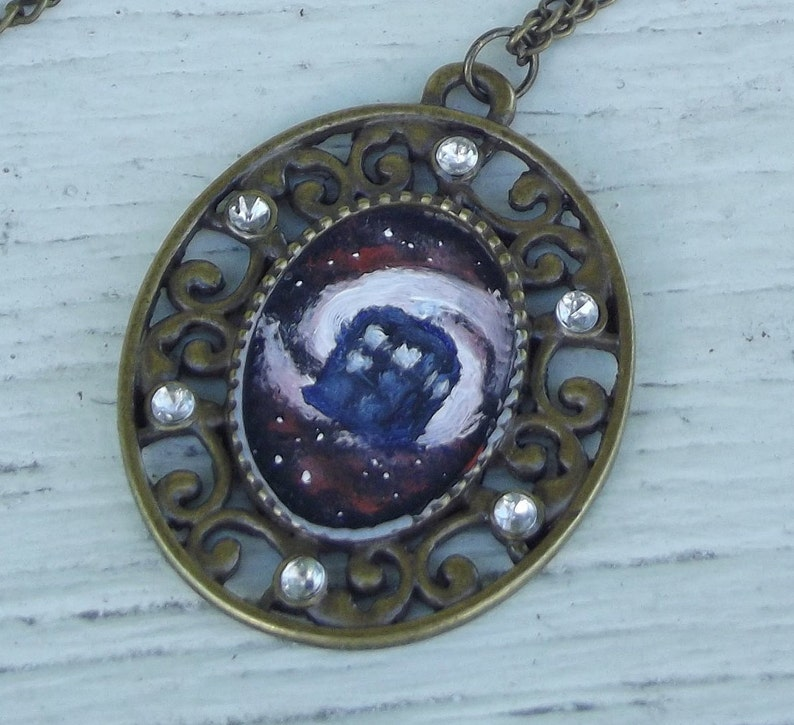 Wearable Art Handpainted Oil Painting Galaxy Doctor Who TARDIS image 0