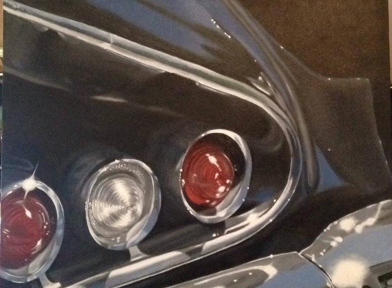 Impala Tail Lights Print of Original Oil Painting 10 x image 0