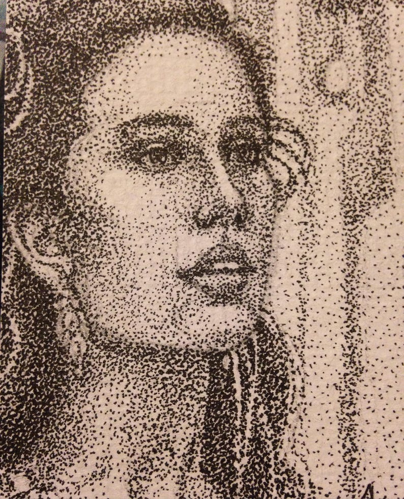 Sarah Jennifer Connolly ACEO Miniature Pointillism Pen and Ink image 0