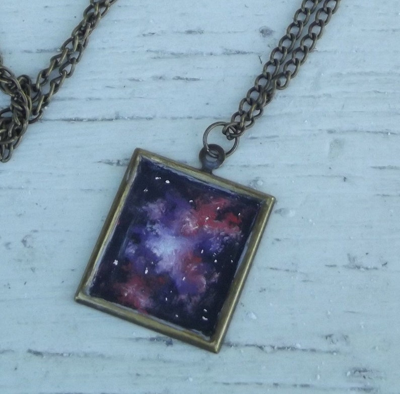 Wearable Art Handpainted Oil Painting Space Nebula Bronze Tone image 0