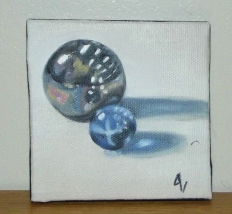 Original Oil Painting On Canvas Rainbow and Blue Marbles image 0