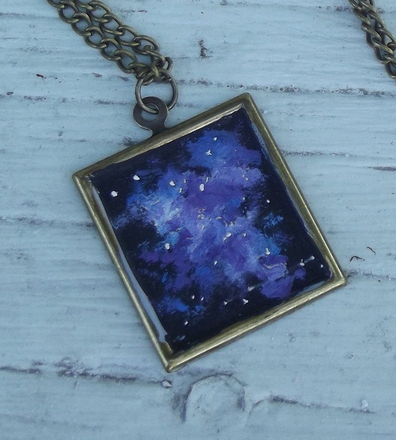 Wearable Art Handpainted Oil Painting  Blue Purple Space image 0