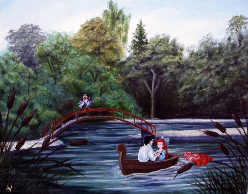 Kiss the Girl Little Mermaid Altered Art Print 11x14 image 0