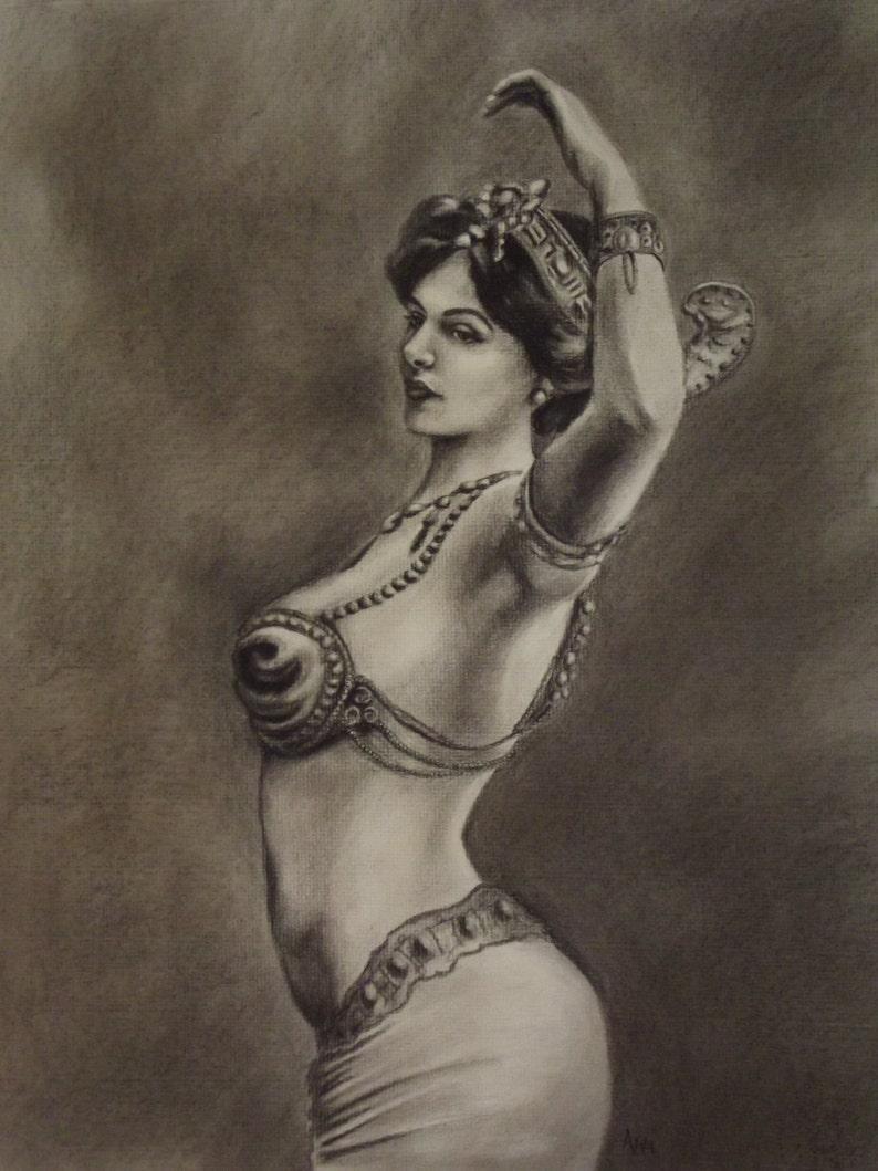 Vashti Exotic Dancer Matted Print of Original Charcoal drawing image 0