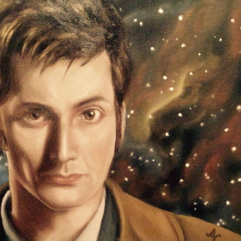 Doctor Who 8x8 Print of Original Oil Painting Tenth image 0