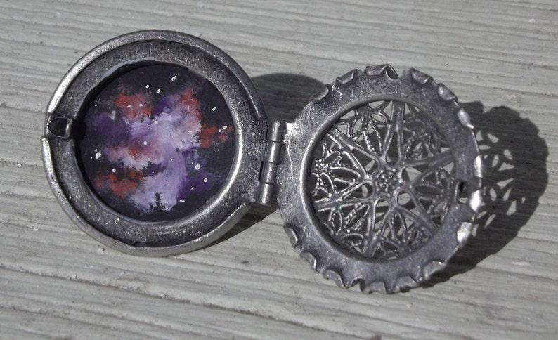Handpainted Galaxy Nebula Oil Painted Adjustable Locket Ring image 0