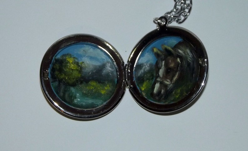 Wearable Art Handpainted Oil Painting Double Locket Horse in image 0