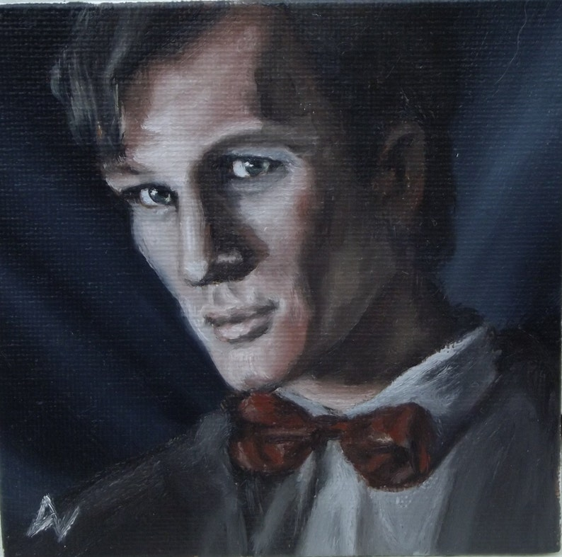Matt Smith Eleventh Doctor Who Miniature Oil Painting Portrait image 0