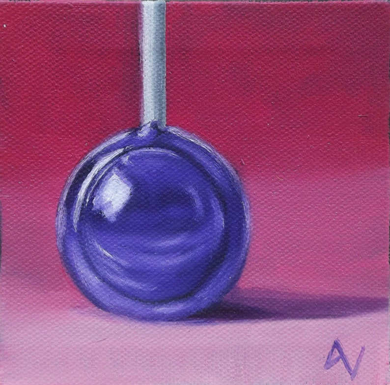 Original Oil Painting On Canvas Purple Tootsie Pop image 0