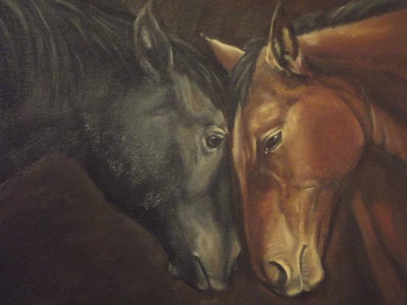 Truce Print of Original Oil Painting Horses image 0