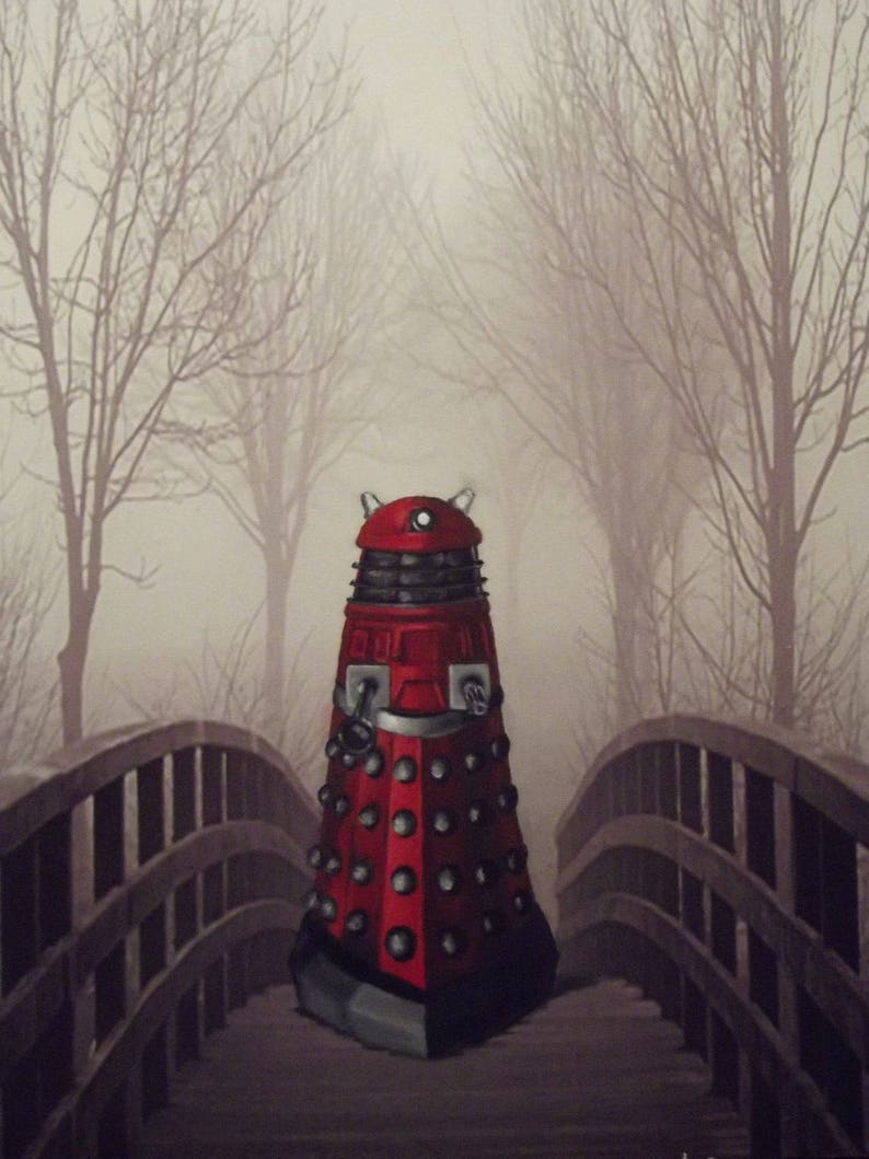 Dalek's Promenade Print of Altered Landscape Recycled Art image 0