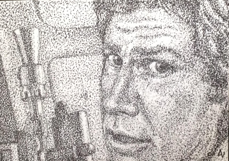 Han Solo ACEO Miniature Pointillism Pen and Ink Drawing Star image 0