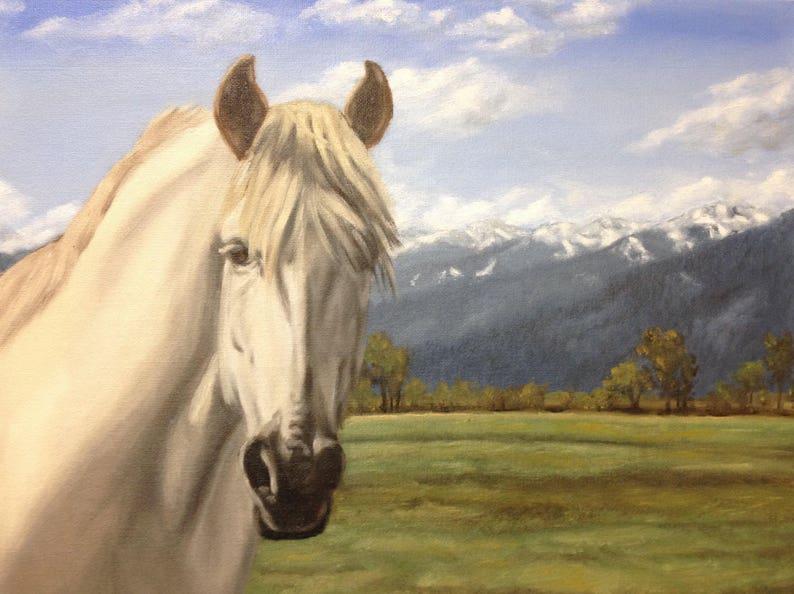 Green Pastures Print of Original Oil Painting Horse image 0