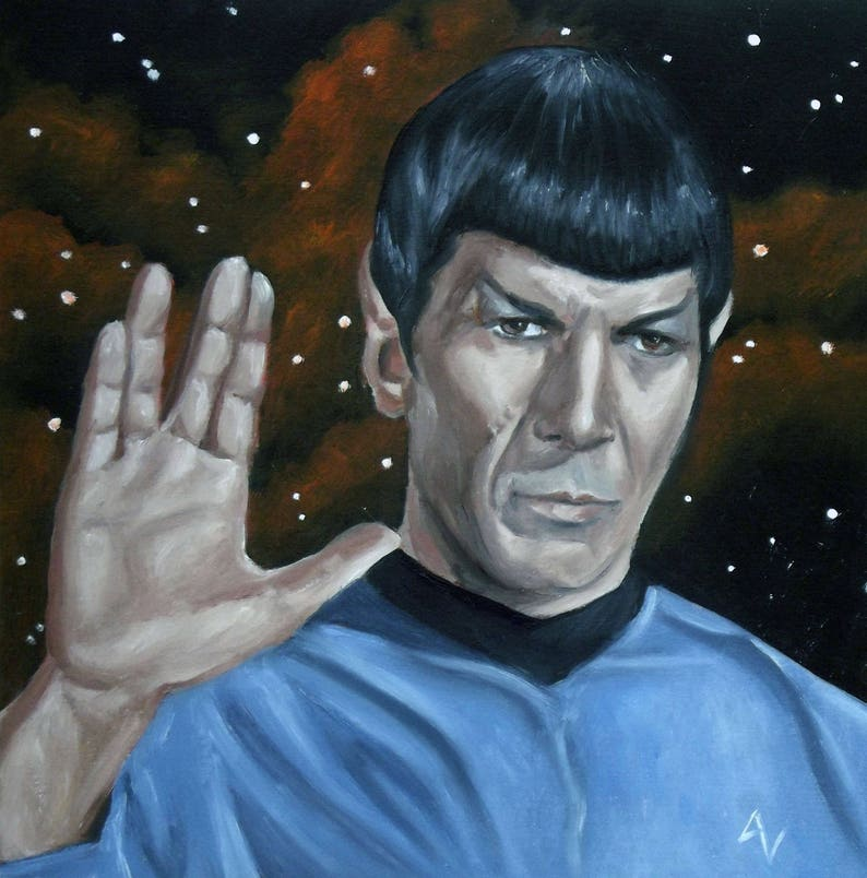 Spock 8x8 Print of Original Oil Painting Live Long and image 0