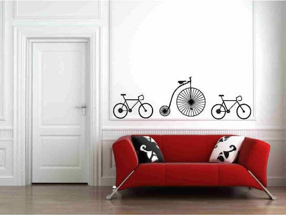 Bicycle Wall Decals Vintage Bicycle Antique Bicycle Decal Bicycle Decor Apartment Decor Bike Decals Cyclists Gift Boys Room Decor