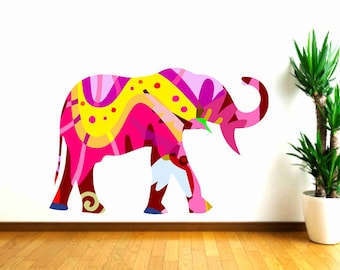Elephant Wall Decal, Kids Wall Decals, Girls bedroom decor, nursery wall decal, Colorful Elephant, animal wall decal, baby shower gift
